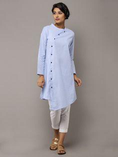 Light Blue Cotton Collared Kurta