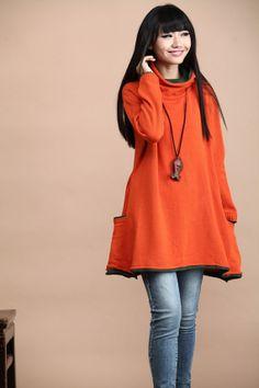 cotton sweater wool sweater knitwear large knitted sweater loose sweater tops long women sweater cardigan- Orange