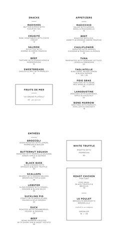 Carte dîner du NoMad Hotel, New York, New York