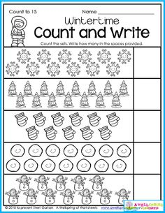 Kindergarten math Counting worksheets There's lots of variety in my Winter Counting Worksheets for Kindergarten. 50 pages of winter-themed fun and engaging math practice starting with counting to 10 and going all the way to counting to 100 by tens! Includes graphing, number tracing, comparing numbers and more! Please check it out. :)