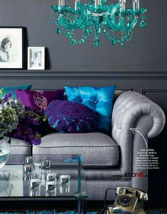 turquoise, deep purple, electric blue and gray... i'm in LOVE with this color scheme!