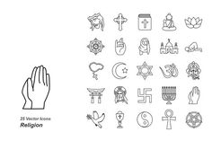 Religion outlines vector icons by Jisun Park on @creativemarket