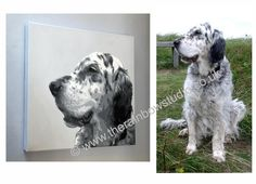 "English Setter pet Portrait painting of Pickle. Acrylic on canvas 16""x16"" Commissions of your beloved pets are welcome, visit www.therainbowstudio.co.uk"