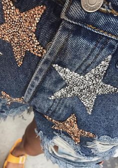 Denim Moon & Stars Sequin Distressed Shorts - Denim - Clothes Jeans Refashion, Diy Clothes Refashion, Diy Clothes And Shoes, Custom Clothes, Custom Denim Jackets, Looks Country, Sequin Jeans, Sequin Outfit, Diy Shorts