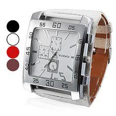Женские аналоговые кварцевые наручные часы с большим квадратным циферблатом и ремешком из кожзама (разные цвета) – RUB p. 229,23