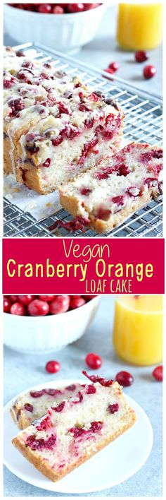 Vegan Cranberry Orange Loaf Cake - Luscious cranberry loaf cake drizzled with a sweet orange glaze. The perfect addition to holiday festivities. http://NeuroticMommy.com #vegan #thanksgiving