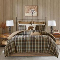 Woolrich Hadley Plaid King Comforter Set Brown Plaid - The Woolrich Hadley Plaid comforter set speaks to casual comfort you can trust. The beautiful plaid is printed in tones of blue, green, brown and wheat on a super soft cozy spun fabric. Plaid Comforter, Twin Comforter Sets, King Comforter, Rustic Comforter Sets, Bedroom Comforters, Queen Bedding, Bedspreads, Shops, Space Furniture