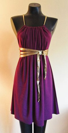 Short Cotton Jersey Knit Plum Colored SACK Dress. This dress can be worn in more than 20 different ways, and one size fits all! Buy it on Etsy for $20!