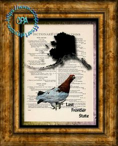 ALASKA State Black Silhouette with State Bird Art - Vintage Dictionary Page Art Print Upcycled Page Print by CocoPuffsArt on Etsy