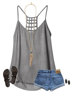 """""""Friday!!"""" by secfashion13 ❤ liked on Polyvore featuring RVCA, Abercrombie & Fitch, Tory Burch, Roberto Cavalli and Kendra Scott"""