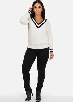 Pullover Sweater with Varsity Stripe Neck (White)