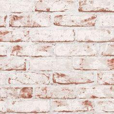 Papel pintado imitacion ladrillo visto esconchado blanco - Plaqueta decorativa barata ...