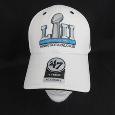New Super Bowl LIII 53 Hat Cap Minnesota Patriots Eagles NFL 47 Brand White  2018   4d1c31831