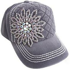 Black Quilted Washed Big AB Bling Hat