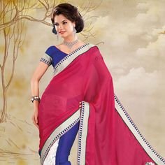 Pink, Off White and Blue Faux Chiffon and Net Saree With Blouse