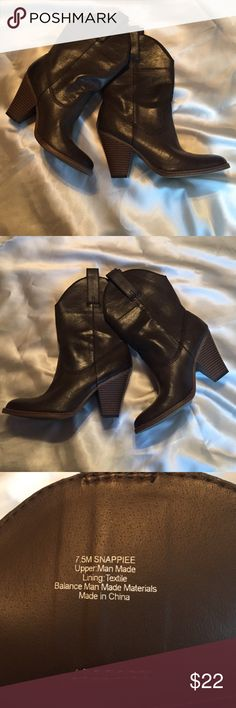 Madden Girl Snappiee Western Boot These boots were made for walking! Please don't let them sit with me any longer! Madden Girl Snappiee Western Boot. Very gently worn. The heel has basically no wear. Great condition. Brown leather. These would be cute with shorts, skirts, skinnies or leggings!  No scratches on leather! Madden Girl Shoes Heeled Boots
