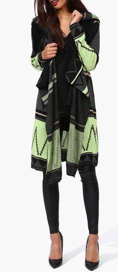 Mint & Black Cardigan Wrap Sweater ♥ fashion, wrap sweater, style, cloth, dress, black cardigan, hood sweater, cardigan wrap, aztec sweater