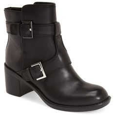 Nine West 'Lorena' Buckle Mid Boot (Women) ($55) ❤ liked on Polyvore featuring shoes, boots, ankle booties, ankle boots, leather bootie, short boots, short leather boots, leather booties and leather ankle boots