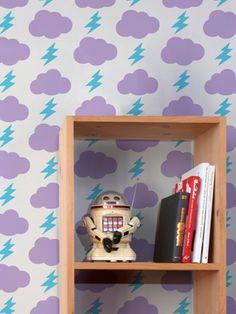 Rainbolts Wallpaper from Kid-Friendly Home on Gilt