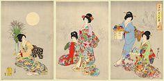 JAPAN PRINT GALLERY: Prints by Chikanobu (Triptych)