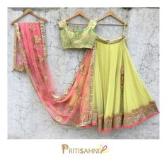 Happy colour.Brighten up the mood in this bright pastel green and lemon yellow lehenga set this Diwali.For more information Whatsapp on +91-9022617481. 11 October 2017