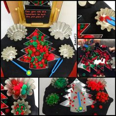 "Invitation to use fine motor skills to sort Christmas-coloured pom-poms... from Rachel ("",)"