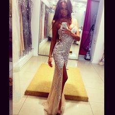 dress prom dress long prom dress dress, prom, champagne, sparkly, diamonds, girl, tumblr, tanned