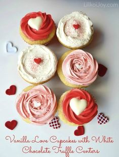 Vanilla Cupcakes With White Chocolate Truffle Centers | 21 Valentine Cupcakes That Will Make Your Coworkers LoveYou