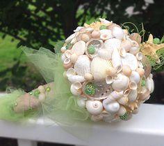 Ramo de concha de mar, concha ramo, ramo de estrellas de mar, playa verde ramo, costera Bouquet, Bouquet de bodas de destino, la isla Bouquet