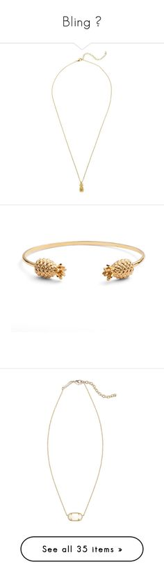 """""""Bling """" by jiejiebear ❤ liked on Polyvore featuring jewelry, necklaces, gold, short chain necklace, pineapple necklace, chain necklaces, charm necklaces, charm chain necklace, bracelets and hinged bangle"""