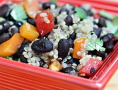 Black Bean, Quino and Red Pepper Salad with honey-lime vinaigrette from The Perfect Pantry via #BonAppetit