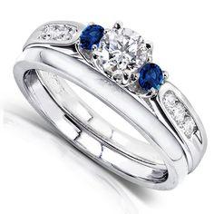 5/8ct TW Diamond and Sapphire Wedding Rings Set in 14k White Gold (2 Piece Set) - Size 4 Kobelli http://www.amazon.com/dp/B00FP4YUJ8/ref=cm_sw_r_pi_dp_h0-svb0P5KM2R