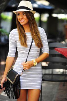 Top Deck Cutie Dress: Grey/White | Hope's