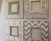Distressed Frames: Set of Modern Funky Pattern In Grey and Turquoise Table Top or Wall Hanging.
