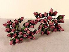 Dark Pink Rose Buds Miniature Parchment Millinery Dolls Crafts Floral Flowers