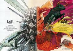 Mercedes artistic ads campaign 3/3 showing clear distinction between left and right brain.