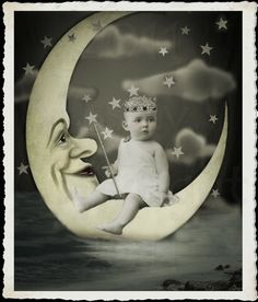 Moon King baby and paper moon  Vintage Image by MsAlisEmporium
