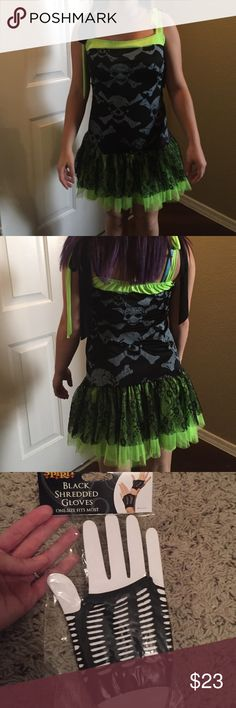 """Black neon skull 80's punk Tag was itchy & was cut out. I think it's a s-m.  15-16"""" across bust. 14-15 across waist. About 26"""" long. Lace & tulle at bottom. Comes with glove & neon fishnet (yellow) cut offs Other"""