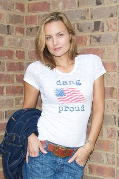 Dang Proud white crew neck tee by Dang Chicks-Elisabeth Hasselbeck