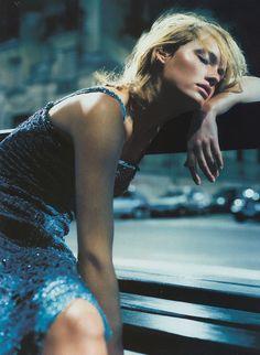 """Night Life""  Amber Valletta by Nathaniel Goldberg for Vogue UK May 1999"