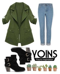 """Yoins Army Coat"" by chicclo on Polyvore featuring women's clothing, women's fashion, women, female, woman, misses, juniors and yoins"
