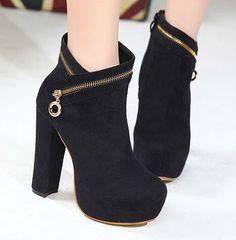 Zipper Design High Heel Boots