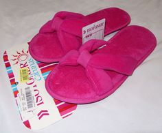 Womens Isotoner Cabanas Slippers Scuffs Soft Plush Terry Pink 9.5-10 Eur 40 New #ISOTONER #Scuffs