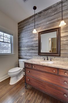 Bathroom Powder Room With Barn Wood Accent Wall Vanity From Antique Old Tile Dining Kitchen Ideas Living In