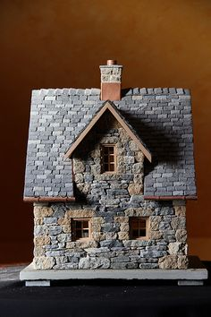 miniature stone cottage - Cottage home decor Stone Cottages, Stone Houses, Miniature Fairy Gardens, Miniature Houses, Cottage Shutters, Medieval Houses, Exterior Paint Colors For House, Gnome House, Paper Houses