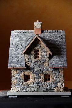 miniature stone cottage - Cottage home decor Stone Cottages, Stone Houses, Miniature Houses, Miniature Fairy Gardens, Cottage Shutters, Medieval Houses, Gnome House, Fairy Garden Houses, Paper Houses