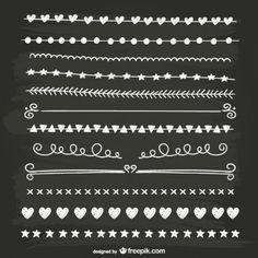 Separadores caligráficos en blanco y negro