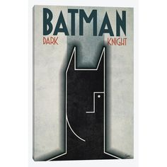 East Urban Home 'Batman in the Spirit of A. Cassandre' by Gregoire 'Leon' Guillemin Graphic Art on Wrapped Canvas Size: Batman The Dark Knight, Canvas Home, Wood Bars, Metal Wall Art, Canvas Art Prints, 5 D, Wrapped Canvas, Black And Grey, Spirit