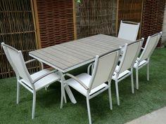 tavolo da esterno in alluminio , top in wpc sedie coordinate