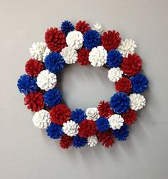 by sheilasgardengirls labor day decorations, pine cone decorations Pine Cone Art, Pine Cone Crafts, Wreath Crafts, Diy Wreath, Pine Cones, Wreaths, Witch Wreath, Patriotic Wreath, Patriotic Crafts